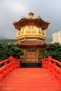 Hong kong arch bridge and pavilion in nan lian garden Stock Photography