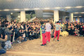 Hong kong band mocking jer street performance in tsim sha tsui on january is a famous in sing Royalty Free Stock Photo