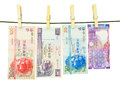 Hong kong bank notes money hanging on a clothes line Stock Images