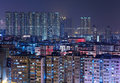 Hong Kong buildings at night Stock Images