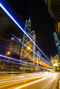 Hong kong business district at night with light track blue Royalty Free Stock Photo