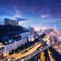 Hong kong bussines center at sunrise Royalty Free Stock Photos