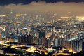 Hong kong city night Stock Photography