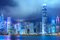Hong kong city night view Royaltyfria Foton