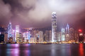 Hong kong city night view Arkivfoto