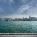 Hong kong city scenery with victoria harbor and skyscrapers Royalty Free Stock Photography