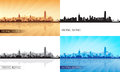 Hong kong city skyline silhouettes set vector illustration Stock Photography