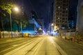 Hong Kong city streets at night Royalty Free Stock Photo