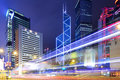 Hong Kong city and traffic trail Royalty Free Stock Photo