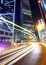 Hong Kong city with traffic trail Royalty Free Stock Photo