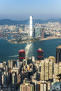 Hong Kong city view to Kowloon from Victoria peak Royalty Free Stock Photo