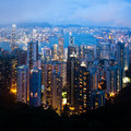 Hong kong cityscape at night with detail Royalty Free Stock Photography