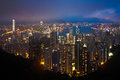 Hong kong cityscape at night with detail Stock Photography