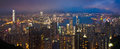 Hong kong cityscape at night with detail Royalty Free Stock Photo