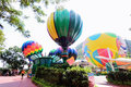 Hong kong colourful balloons at ocean park hot air balloon replicas greet visitors to one of the open air theatres s famous Stock Photography