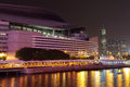 Hong kong congress centre illuminated at night Stock Image