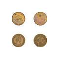 Hong Kong fifty cents coins collection Royalty Free Stock Photo