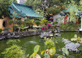 Hong Kong. Garden in the temple of Wong tai Sin. Royalty Free Stock Photo