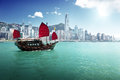 Hong kong harbour on a clear day Stock Images