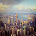Hong kong harbour harbor from victoria peak with an instagram effect Stock Images