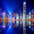 Hong kong island from kowloon at night Royalty Free Stock Photography