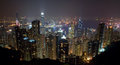 Hong kong island skyline at night from the peak photo of s victoria harbour and Royalty Free Stock Photos