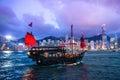 HONG KONG - JUNE 09, 2015: A Chinese traditional junk boa sailing passing famous Hong Kong skyline. JUNE 09, 2015. They provides Royalty Free Stock Photo