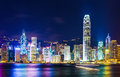 Hong kong landmark at night Royalty Free Stock Photos