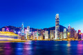Hong kong landmark at night Stock Photos