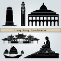 Hong kong landmarks and monuments isolated on blue background in editable vector file Royalty Free Stock Photos
