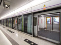 Hong kong mass transit railway mtr platform located in po lam mrt station Royalty Free Stock Image