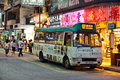 Hong kong minibus parking on the street in causeway bay district Royalty Free Stock Image