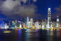 Hong kong night city skyline Stock Photo