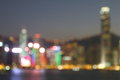 Hong kong at night out focus shot of the view of skyline Royalty Free Stock Image
