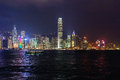 Hong kong night panoramic view of skyline Royalty Free Stock Photo