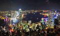Hong kong night scene beautiful at victoria harbor Royalty Free Stock Photo
