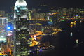 Hong kong night scene beautiful at victoria harbor Stock Photo