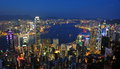 Hong kong night scene clear sky and beautiful sunset in victoria harbor Royalty Free Stock Photos