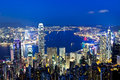 Hong kong night it is a view in Royalty Free Stock Images