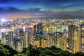 Hong kong night view from braemar hill Stock Photography