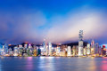 Hong kong night view of victoria harbor island business district Stock Photography