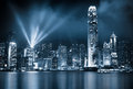 Hong kong nights lit up at night Royalty Free Stock Image