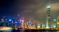 Hong kong at nigth night scene with illumination of the skyline of komg Royalty Free Stock Images