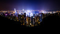 Hong kong a panoramic view of night Royalty Free Stock Image