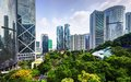 Hong kong park modern skyscrapers viewed from in china Stock Photo