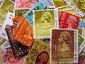 Hong kong postage stamps la reine elizabeth ii Photographie stock