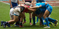 Hong kong rugby sevens china march and italy players form a scrum in ruby italy won Royalty Free Stock Photography