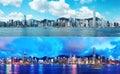 Hong Kong skyline day and night Royalty Free Stock Photo