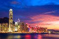 Hong Kong skyline at night Royalty Free Stock Photo