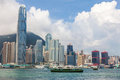Hong Kong Skyline and Star Ferries Royalty Free Stock Photo